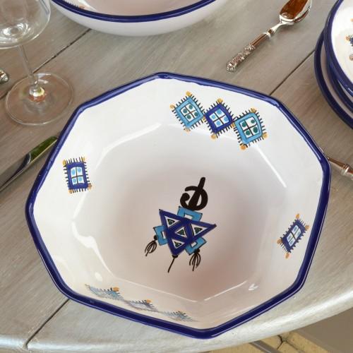 Plat octogonal Sahel bleu - L 20 cm