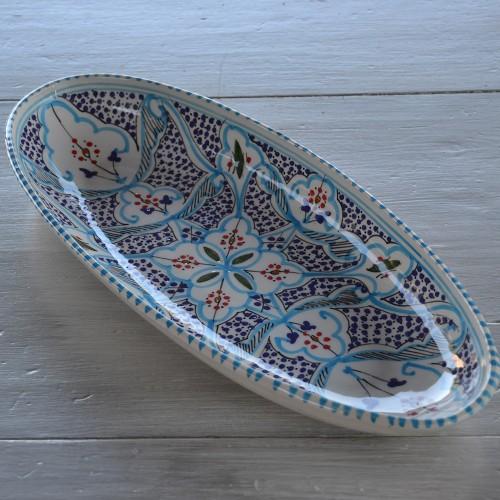 Plat ovale Marocain turquoise - L 40 cm