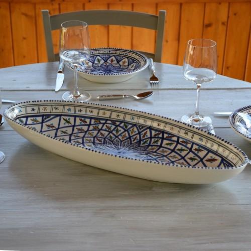 Plat ovale Bakir bleu - L 50 cm