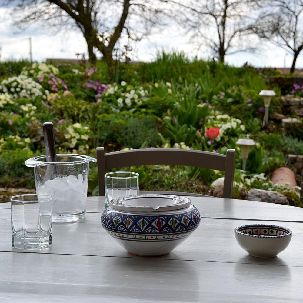 Cendrier anti fum e bakir bleu d 20 cm for Cendrier de jardin