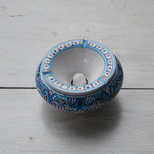 Cendrier anti fumée marocain turquoise - Grand modèle