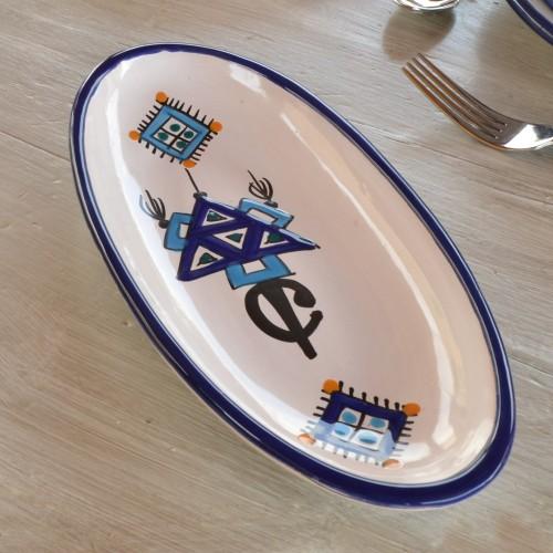 Plat ovale Sahel bleu - L 30 cm