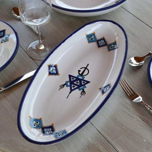 Plat ovale Sahel bleu - L 40 cm