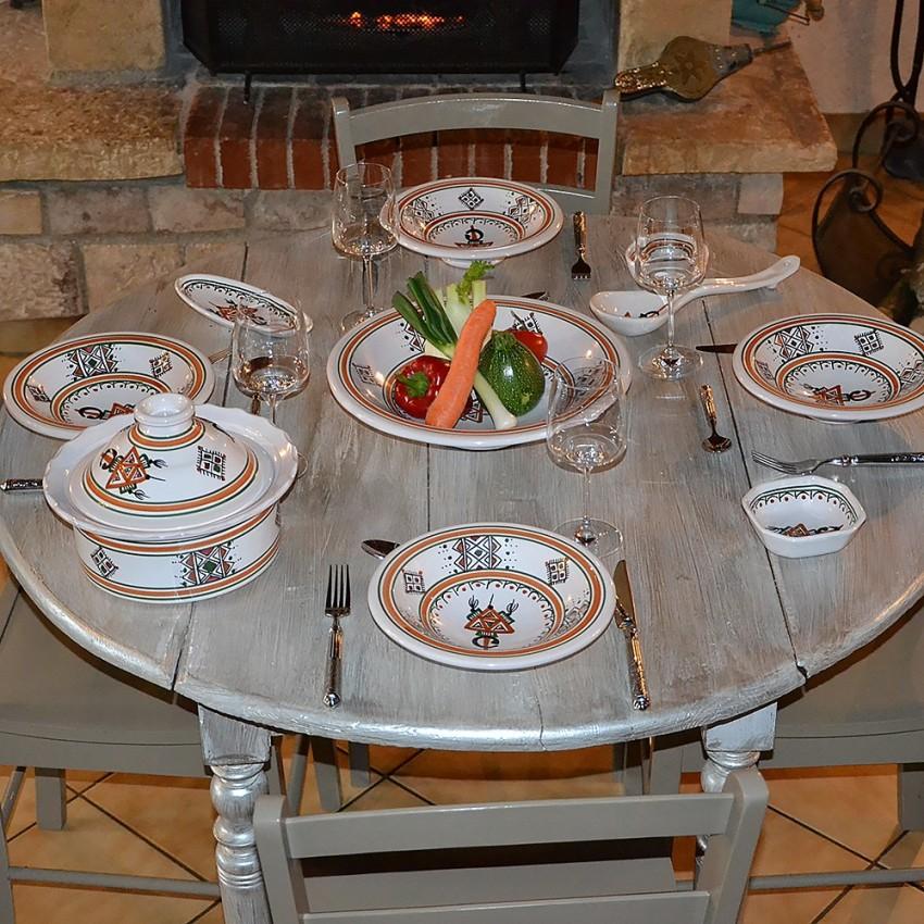 Service à couscous assiettes Tebsi Sahel beige - 6 pers