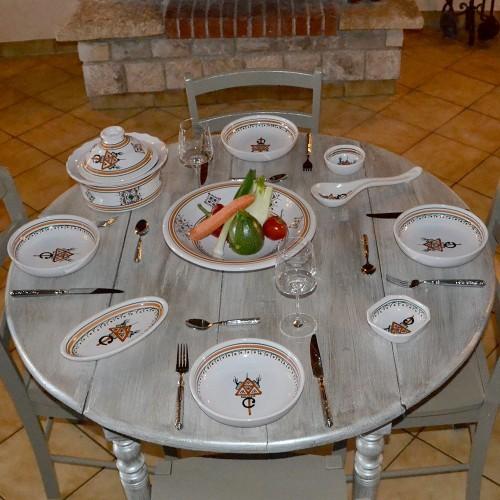 Service à couscous assiettes jattes Sahel beige - 12 pers