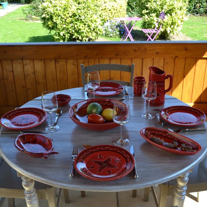 Assiette plate Tatoué rouge - D 28 cm