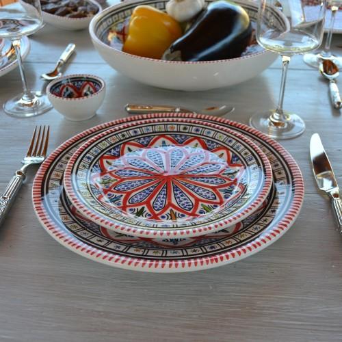 Service de table avec bols Bakir rouge - 8 pers