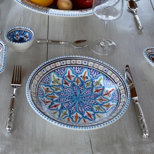 Lot de 6 assiettes creuses Jileni turquoise - D 24 cm