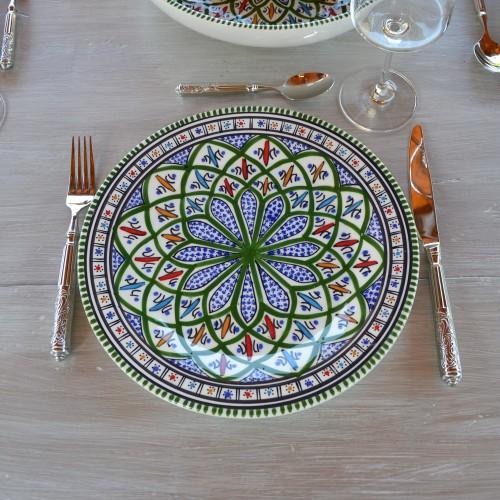 Lot de 6 assiettes plates Jileni vert - D 28 cm