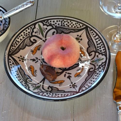 Lot de 6 assiettes à entrée ou dessert Marocain noir - D 20 cm