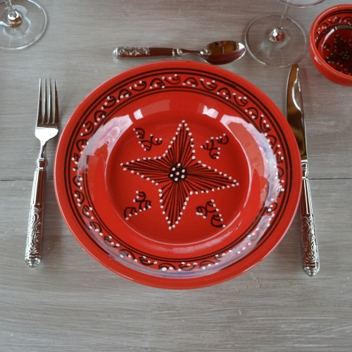 Lot de 6 assiettes creuses Tatoué rouge - D 24 cm