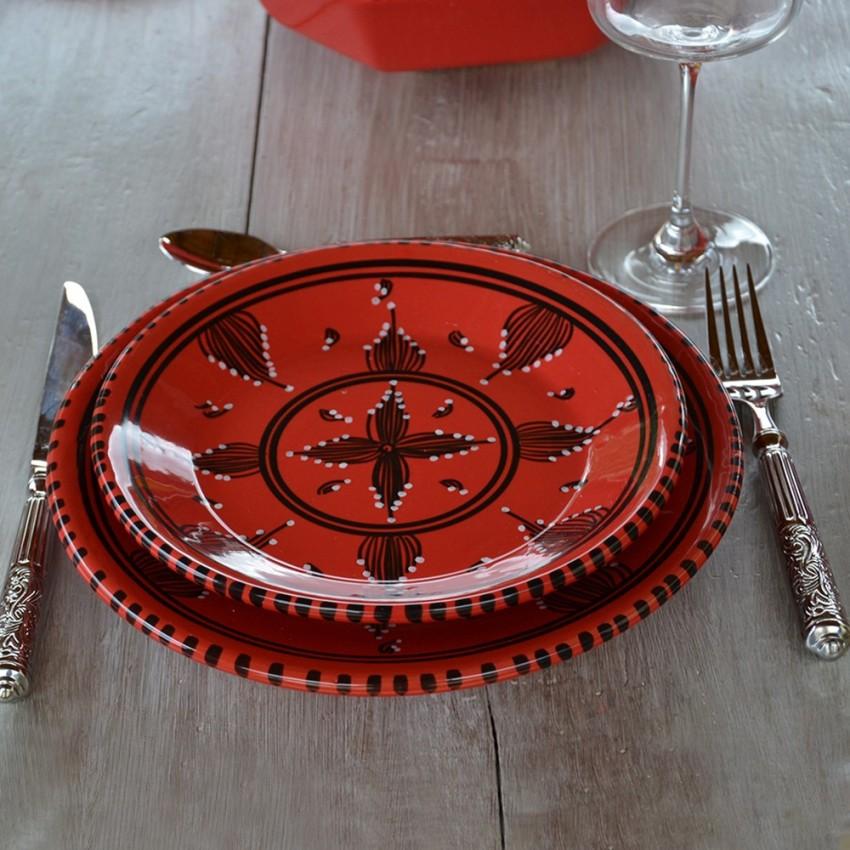 Service de table Tatoué rouge - 8 pers