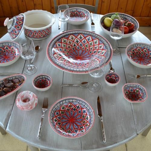 Service à couscous assiettes jattes Jileni rouge - 12 pers