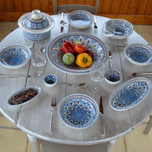 Service à couscous assiettes jattes Jileni turquoise - 12 pers