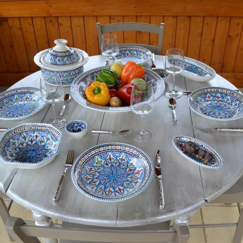 Service à couscous assiettes creuses Bakir turquoise - 12 pers