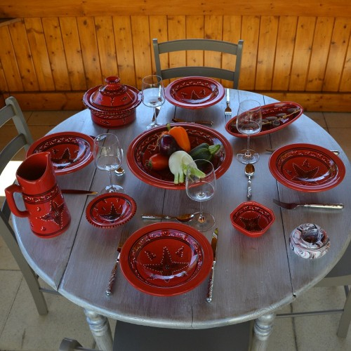 Service à couscous assiettes Tebsis Tatoué rouge - 12 pers