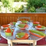 Service à couscous assiettes creuses Kerouan orange et vert - 12 pers