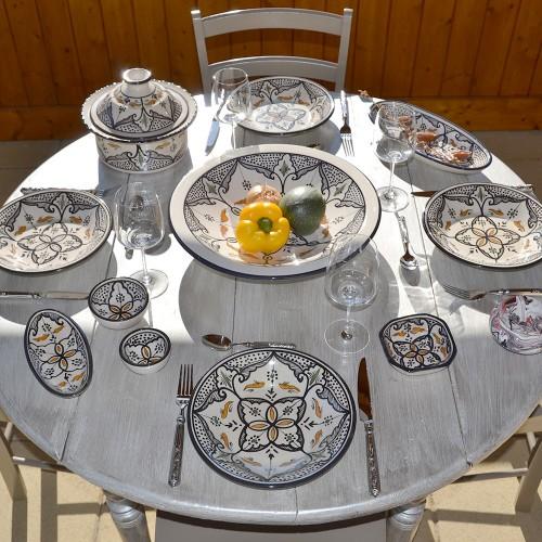Service à couscous assiettes creuses Marocain noir - 12 pers