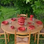 Service couscoussier assiettes Tebsis Tatoué rouge - 6 pers