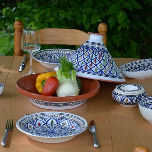 Service tajine assiettes creuses Bakir bleu - 6 pers