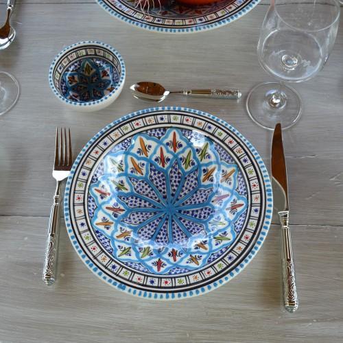 Lot de 6 assiettes Tebsi Jileni turquoise - D 23 cm