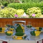 Lot de 6 assiettes Tebsi Kerouan jaune et vert - D 23 cm