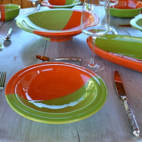 Lot de 6 assiettes Tebsi Kerouan orange et vert - D 23 cm