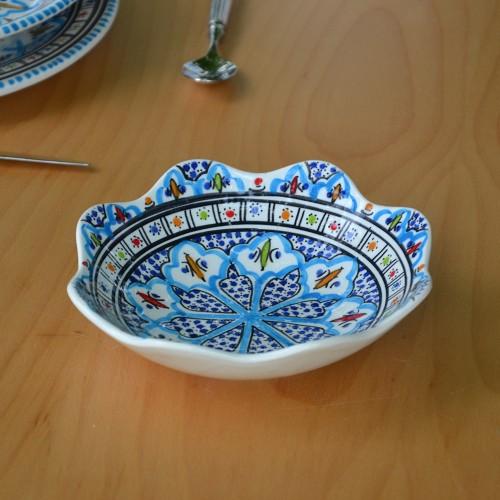 Jatte fleur Bakir turquoise D 19 cm
