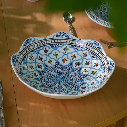 Jatte fleur Bakir turquoise D 24 cm