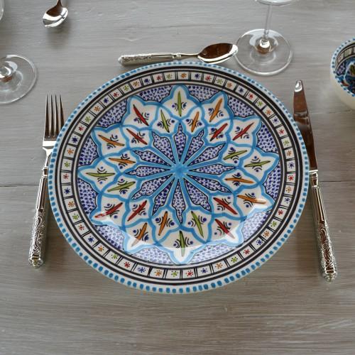 Lot de 6 assiettes plates Jileni turquoise - D 28 cm