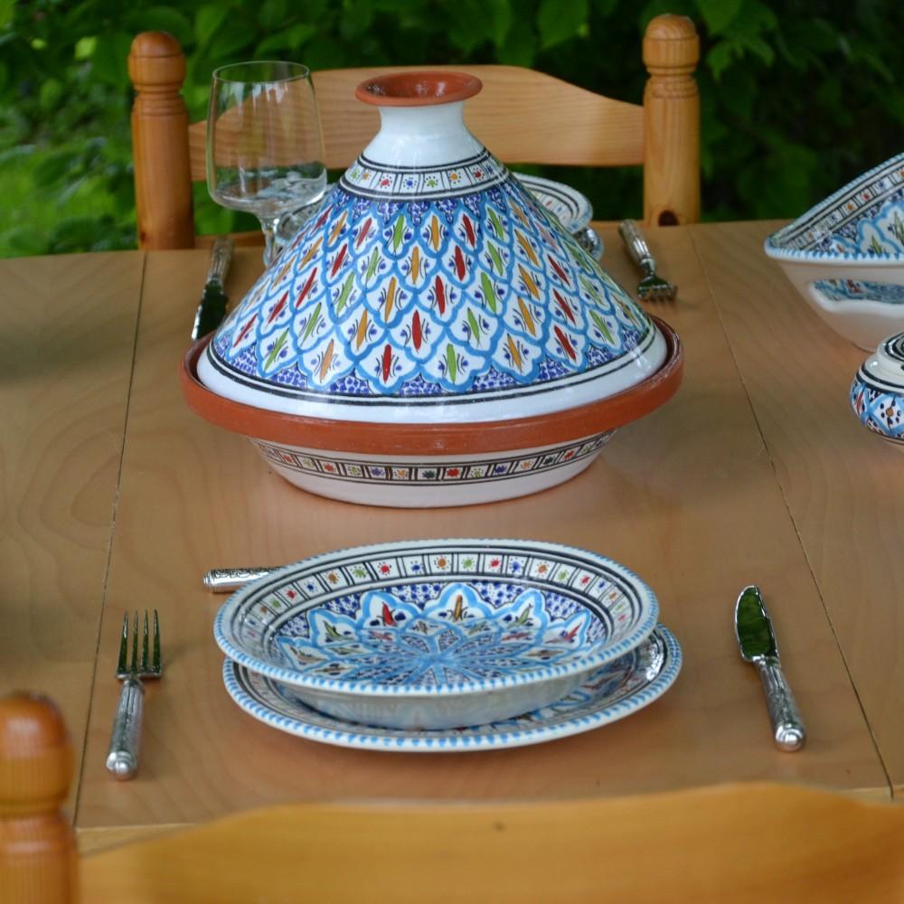 service tajine assiettes creuses bakir turquoise 6 pers. Black Bedroom Furniture Sets. Home Design Ideas