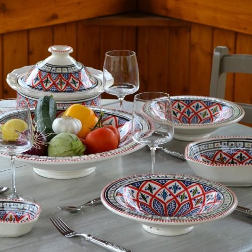 Service à couscous assiettes Tebsi Jileni rouge - 8 pers