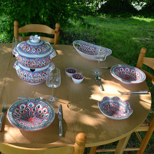 Service couscoussier assiettes Tebsis Bakir rouge - 8 pers