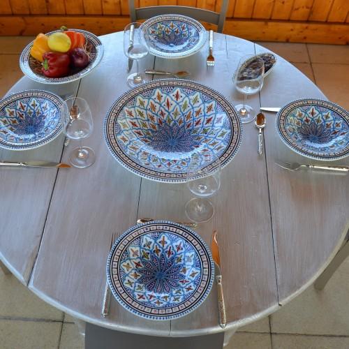 Service à couscous assiettes Tebsis Jileni turquoise - 8 pers