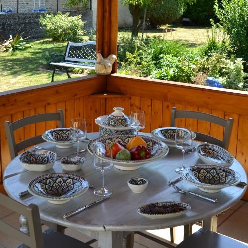 Service à couscous assiettes Tebsis Jileni vert - 8 pers