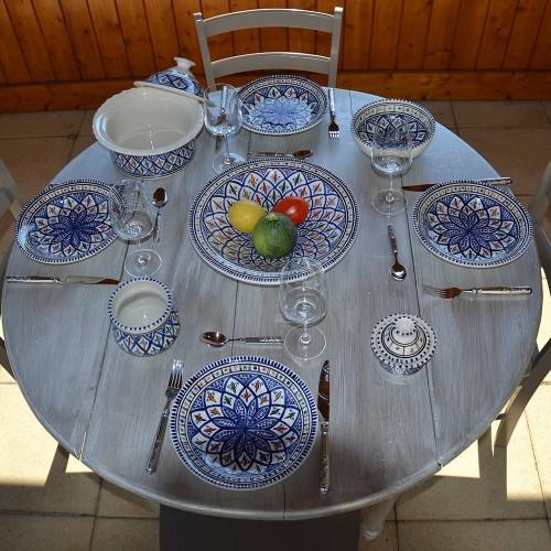 Service à couscous assiettes creuses Bakir bleu - 8 pers