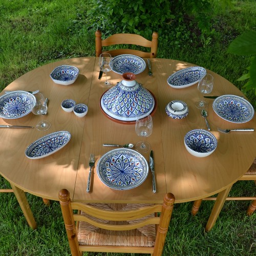 Service à tajine assiettes creuses Bakir bleu - 8 pers