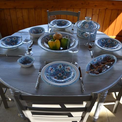 Service à couscous Marocain turquoise assiettes Tebsi - 8 pers