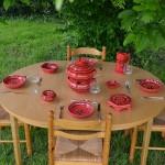 Service couscoussier avec assiettes jattes Tatoué rouge - 8 pers