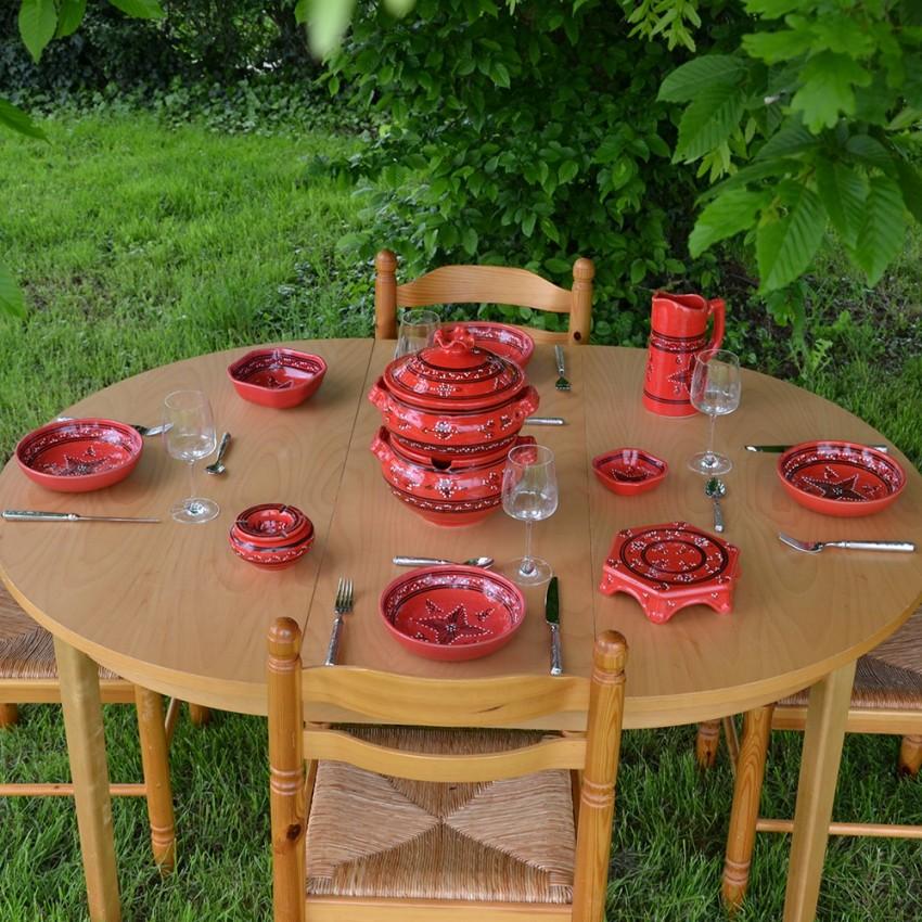 Service couscoussier avec assiettes jattes Tatoué rouge - 12 pers