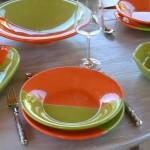 Service à couscous assiettes creuses Kerouan orange et vert - 8 pers