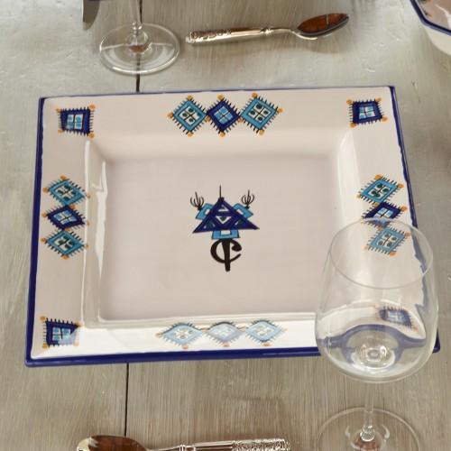 Assiette carrée Sahel bleu - L 24 cm