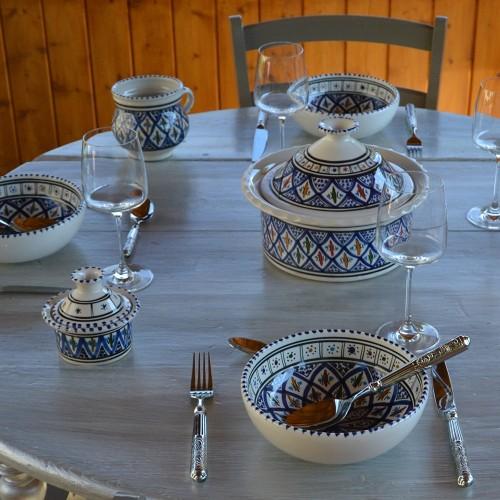 Service à soupe avec Querouanna Bakir bleu - 12 pers
