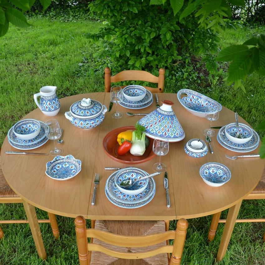 Service à soupe avec bols Bakir turquoise - 8 pers