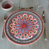 Lot de 6 assiettes plates Bakir rouge - D 28 cm