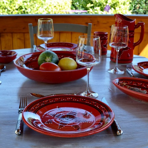 Lot de 6 assiettes plates Tatoué rouge - D 28 cm