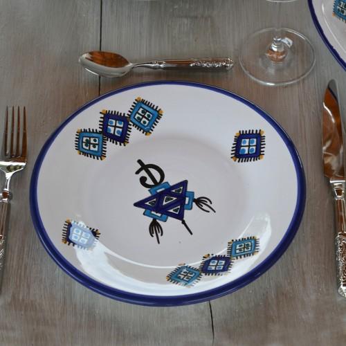 Lot de 6 assiettes à entrée ou dessert Sahel bleu - D 20 cm