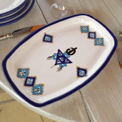 Plat rectangulaire Sahel bleu - L 31.5 cm