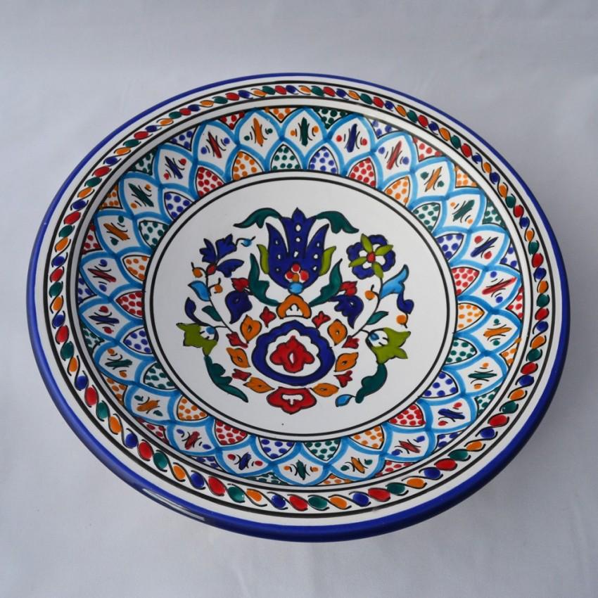 Plat rond décor Dakhla - Pièce unique - Diam 31 cm