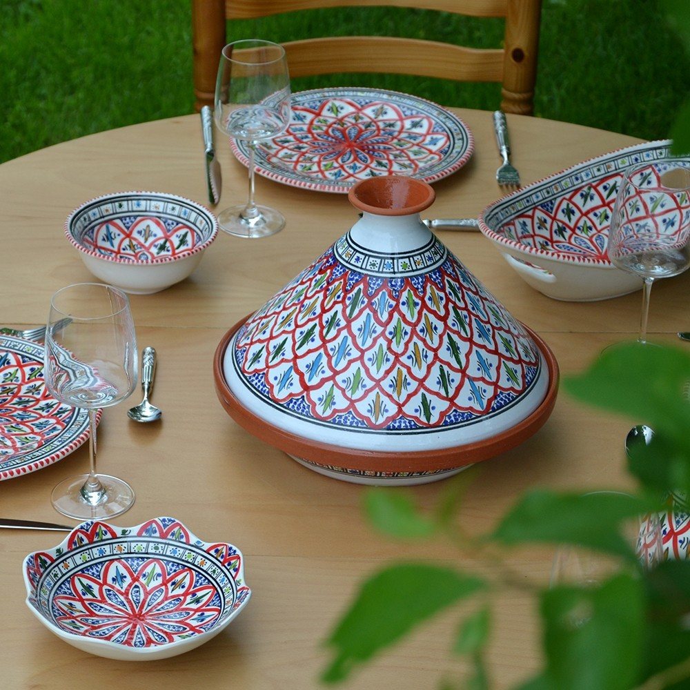 service tajine assiettes plates bakir rouge 6 pers. Black Bedroom Furniture Sets. Home Design Ideas